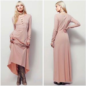 Free People Maxi Dress Lace-Up Front Psychomagic
